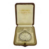 1932 Longines 18k White Gold Sapphire Presentation Pocket Watch President Peru